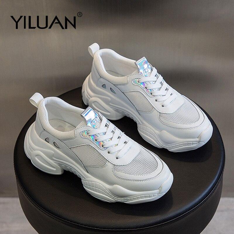 Sportowe buty damskie oddychające studenckie trampki prawdziwej skóry letnie nowe grube dno na co dzień tata buty Hollow pojedyncze buty w Damskie buty typu flats od Buty na AliExpress - 11.11_Double 11Singles' Day 1