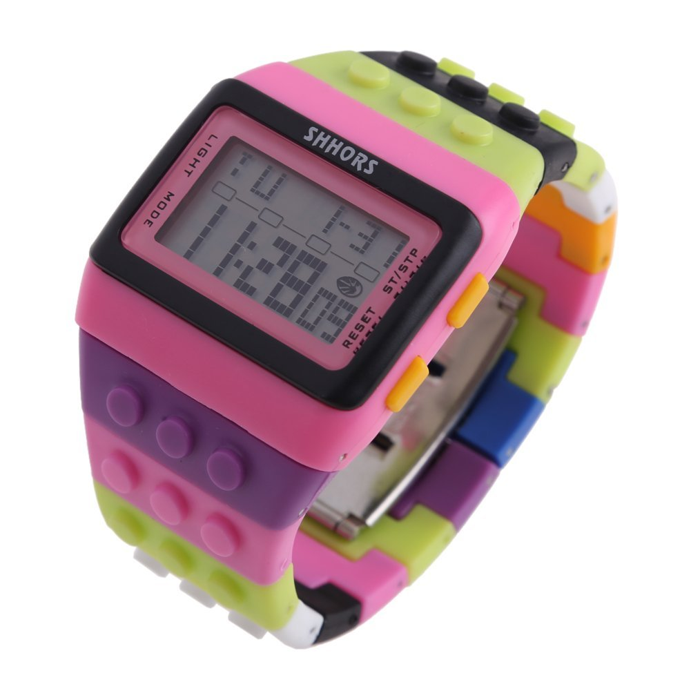 SHHORS Rainbow Color Multifunction Waterproof LED Children Wrist Watch Swimming Sports Watch Digital Wrist Watch (style 8) diray dr 306g children digital watch