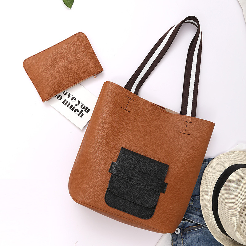 2 Pieces Women Purses And Handbags Ladies Hobo Shoulder Bags Synthetic PU Leather Top-Handle Tote Set
