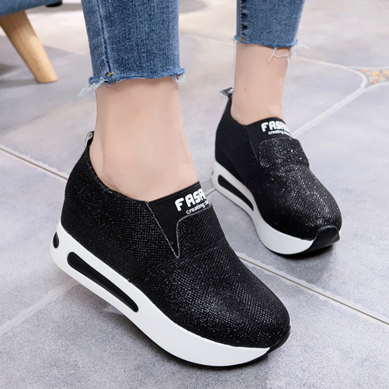 Spring Golden Glitter Wedge Sneakers For Women Wedge Shoes Female Casual  Platform Shoes Woman Chunky Sneakers chaussure femme-in Women s Vulcanize  Shoes ... 929020ef9c15