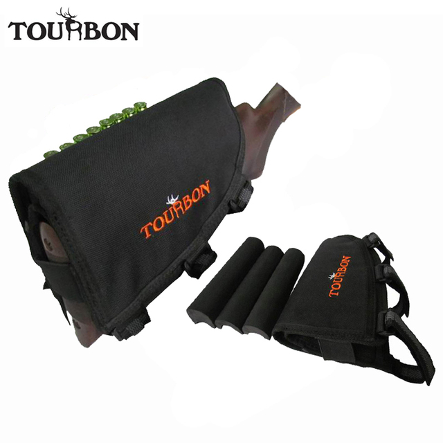 Tourbon Hunting Gun Accessories Tactical Left-Hand Shooting Butt Stock Rifle Cheek Rest Shell Pouch Safety Black Pad