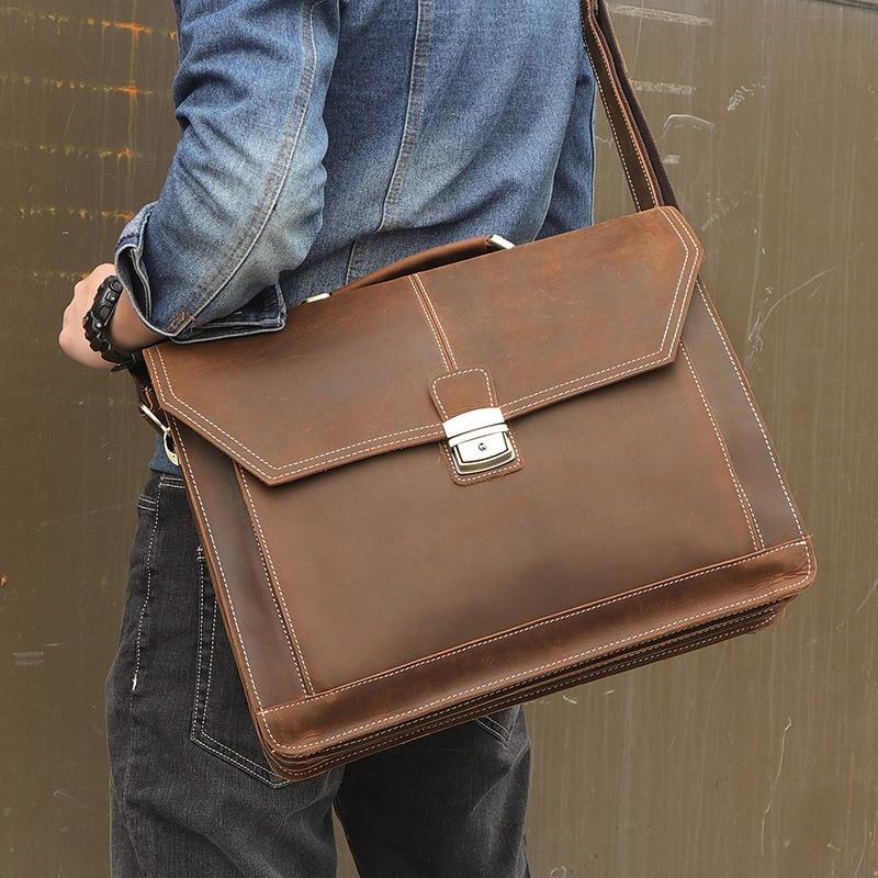 Божевільна шкіряна сумка для дорожньої сумки Сумочка чоловіча Сумка для відправлення портфеля з розміром 17 дюймів