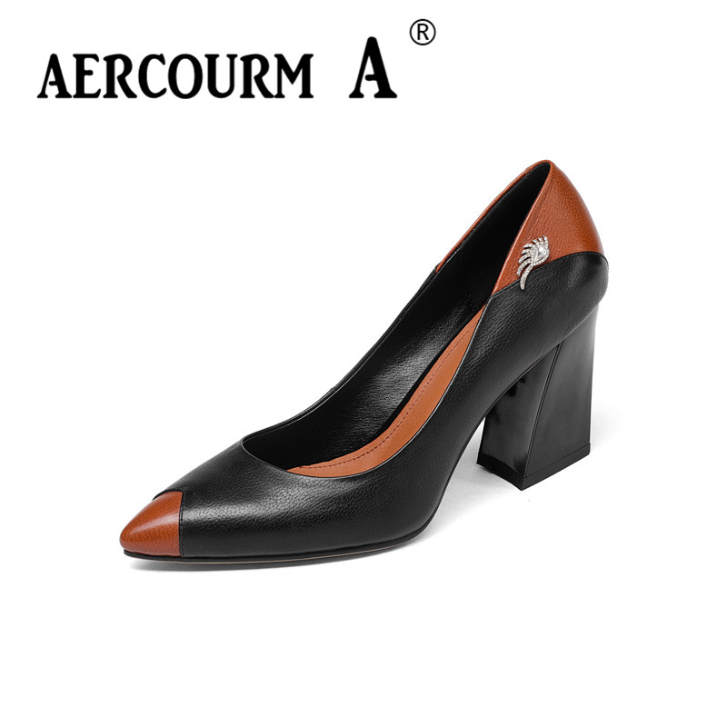 Aercourm A 2018 Women Fashion High-heeled Shoes Women Genuine Leather Shoes Spring Mixed Colors Pumps Heels Brand Shoes Z301 aercourm a 2018 women black fashion shoes female bright genuine leather shoes pearl high heel pumps bow brand new shoes z333