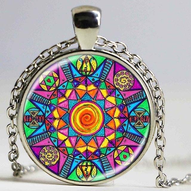 Handmade Kaleidoscope Buddhism Mandala Necklace Art Glass Dome Vintage Neon Blue Pink purple green Mandala boho pendant