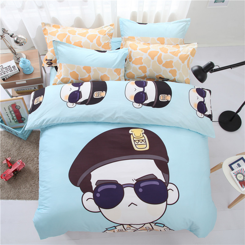 Cartoon Descendants of The Sun Bedding Set Chidren Cute Animals Printed Bed Linens Cotton Bed Set Duvet Cover+Sheet+Pillowcases