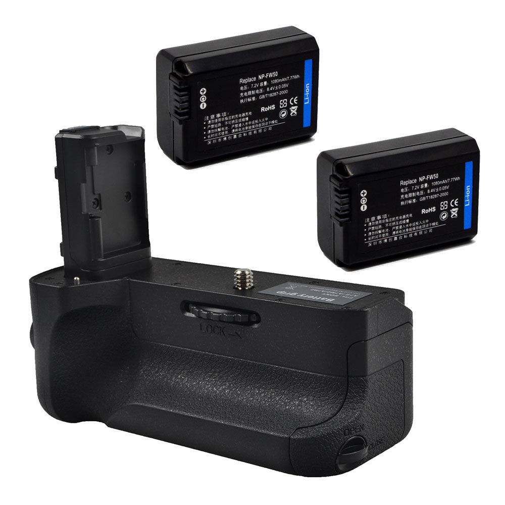JINTU Power Battery Grip Pack Holder +IR Remote +2pcs NP-FW50 Kit for <font><b>SONY</b></font> <font><b>A7II</b></font> A7RII A7SII DSLR Mirrorless <font><b>Camera</b></font> BG-3EIR image