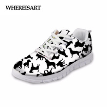 WHEREISART Shoes Woman Cartoon Dog Pattern Sneakers Ladies Breathable 2019 Spring Female Flats Zapatos de Mujer Chaussures Femme