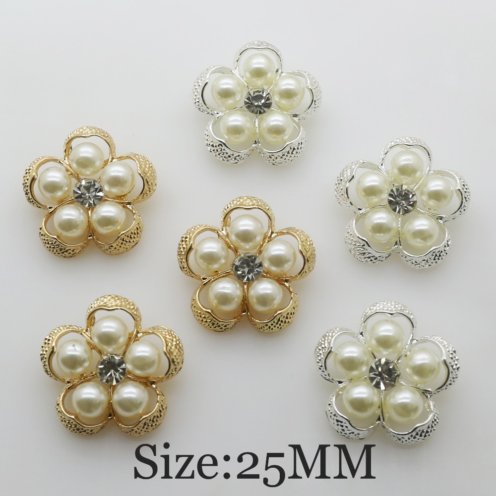 New 10pcs/lot 28mm Flower Shape Pearl Button diy Sewing Diamond Metal floral center Scrapbooking DIY intimate accessories