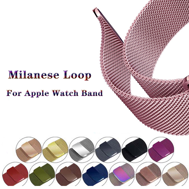 Stainless Steel Strap For Apple Watch Band 44/42mm Milanese Loop Apple Watch 4 3 2 1 Bracelet Apple Watch 40mm For Iwatch 38mm