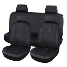 цена на Black PU Leather Car Seat Cover Full Set Front Rear Seat Cushion Mat Protector Car-covers