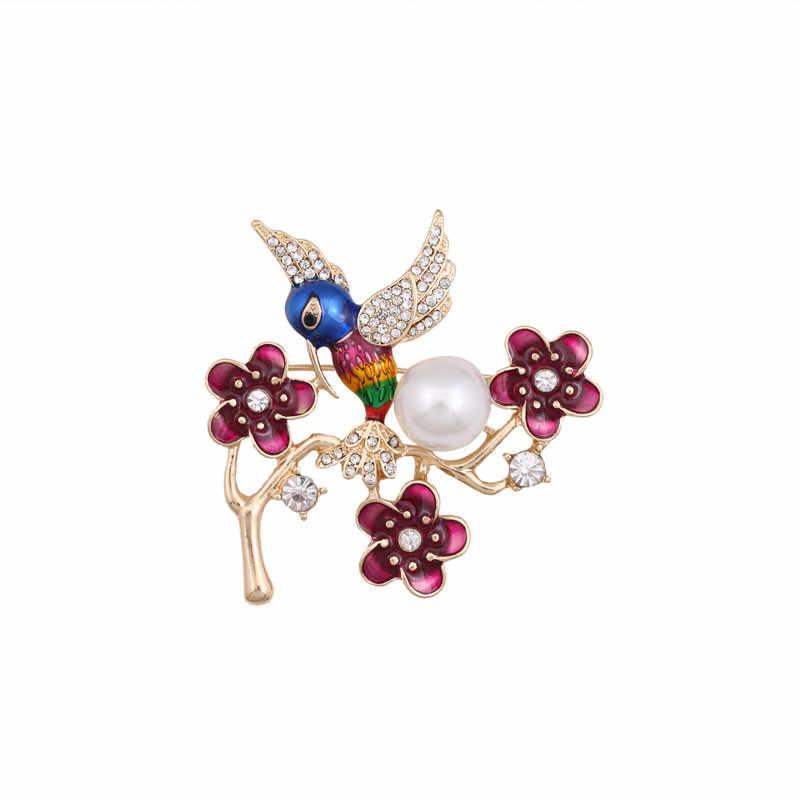 Enze Fashion Tanaman Bunga Cabang Burung DROP Glaze Pin Merah Hummingbird Bros Mutiara Imitasi Perhiasan Aksesoris Baru