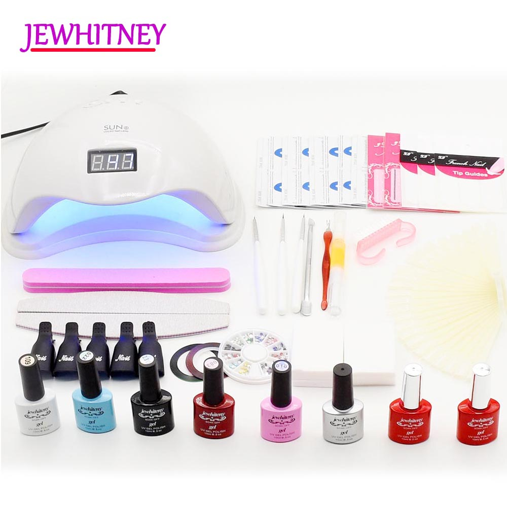 6 Colors Nail Gel Polish Set With UV LED Lamp Nail Set Manicure Kit Soak off UV Gel Varnish Manicure Tools Set Nail Art Tool Kit