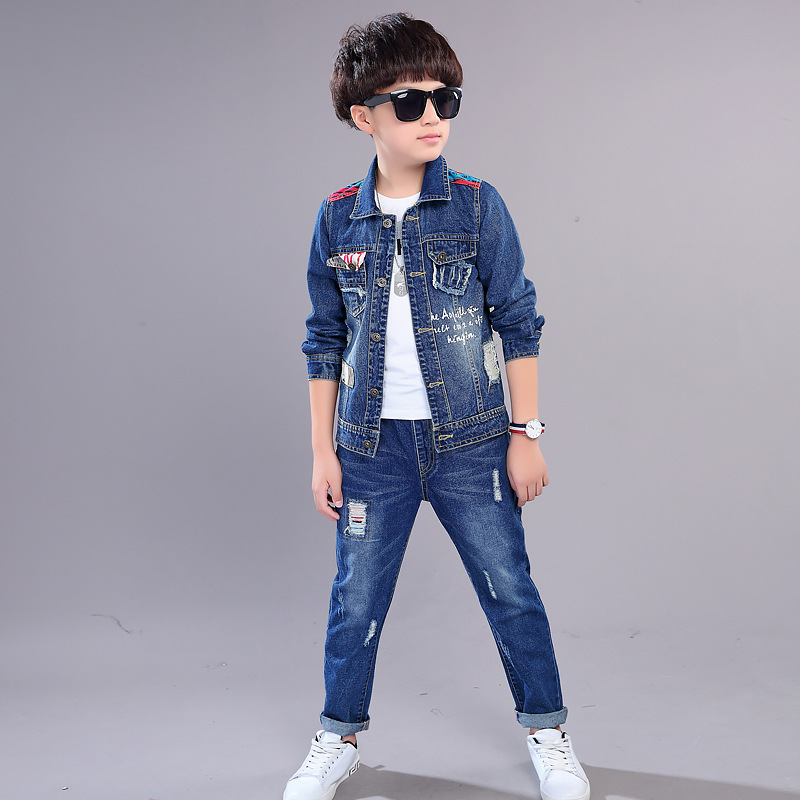 2pcs Boys Outerwear & Boys Jeans Clothing Set Boy Denim Jacket Pants for 5 6 7 8 9 10 12 Year Old 2018 Kid Boys Clothes 185006 2018 new cartoon boys clothing sets 2pcs denim jacket