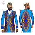 Men African Clothes Men Blazer Designs Blazer masculino slim fit Dashiki Men Bazin Riche Long Jacket Blazer 6XL BRW WYN175