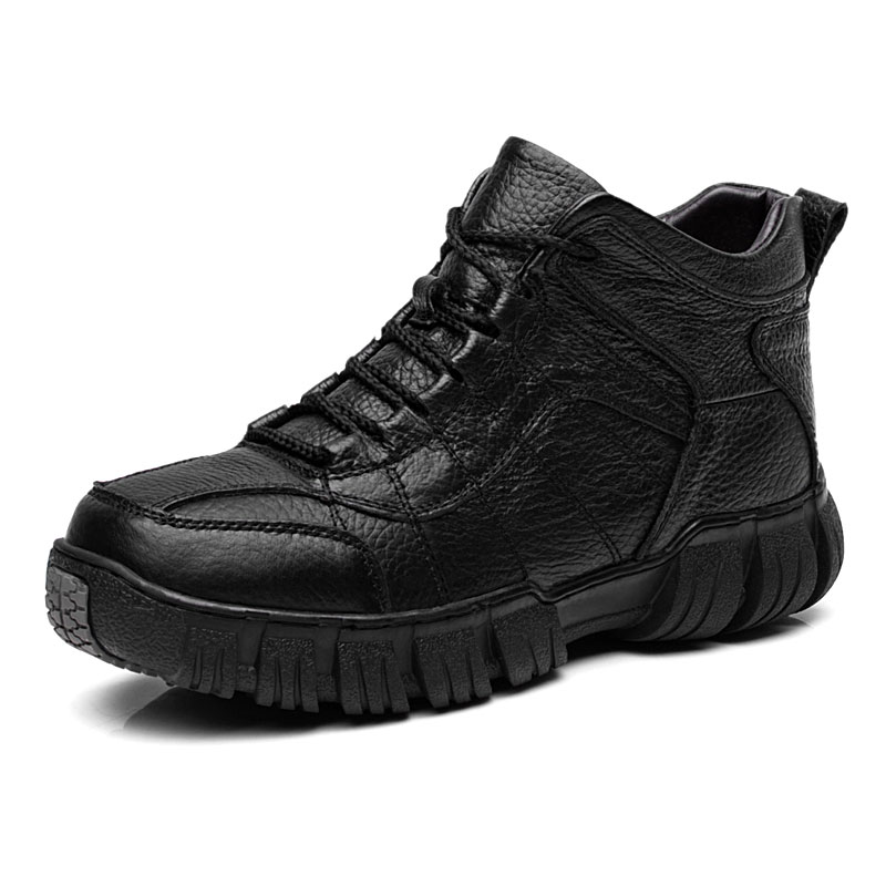 Bottes 2017 De Fourrure Casual D'hiver En Chaussures Cheville Vanmie Hommes Neige marron Hiver Véritable Chaud Male Cuir Pour Noir Zqtx7SXn