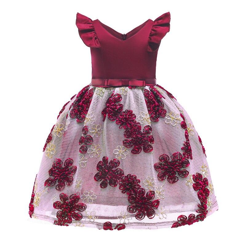 Enfants broderie fleurs robe fille fête Pageant robe de princesse pour les petites filles 3-10 ans enfants Glitz première Communion robe