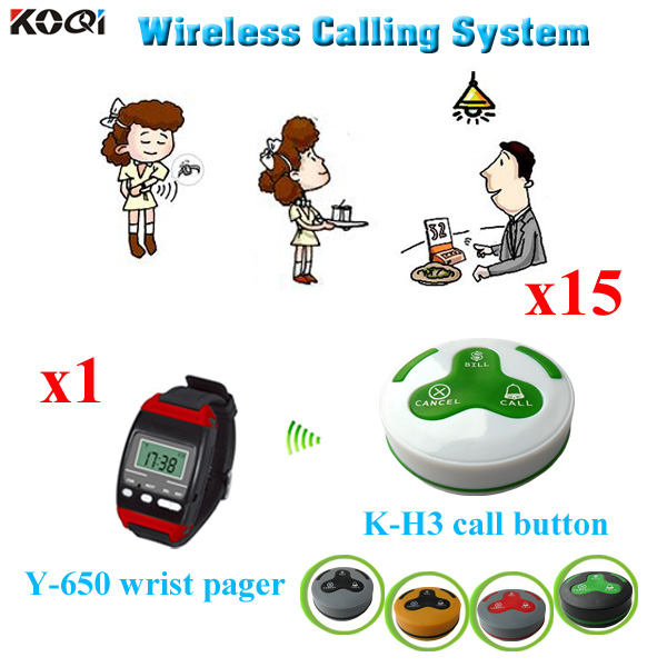 Système de commande de table client sans fil du fournisseur d'or avec service de serveur 1 montres + 15 bouton d'appel