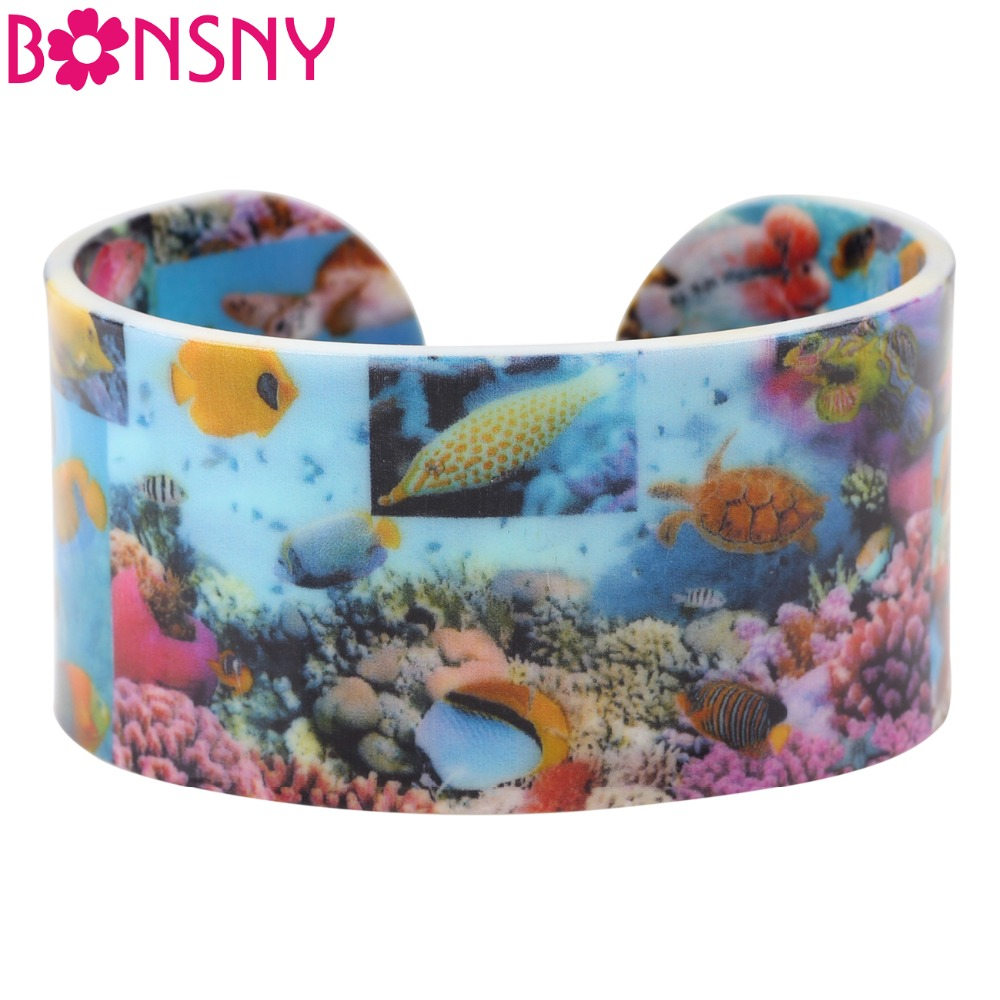 Bonsny Acrylic Fish Pattern Wide Love Bracelets Bangles Marine Organisms Jewelry For Women 2017 New Ocean Collection Bijoux