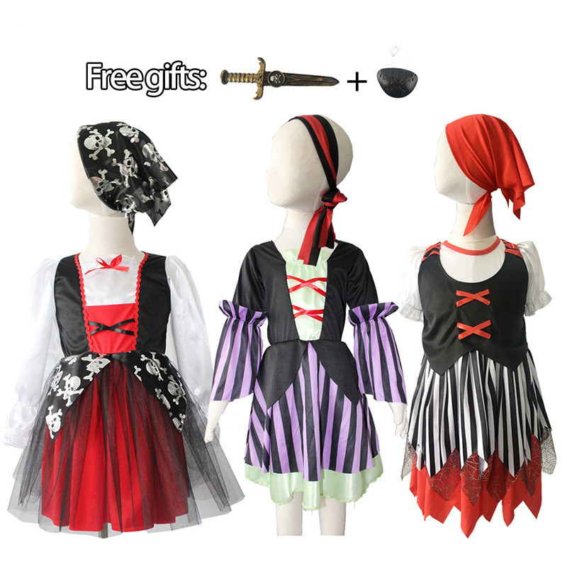 Kids Boys Pirate Cosplay Costume Halloween Set Birthday Party Cloak Outfit Pirate Christmas Themess dress Girl Pirate Cosplay