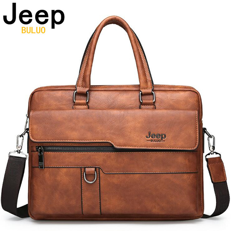 JEEP BULUO Men Briefcase Bag High Quality Business Famous Brand Leather Shoulder Messenger Bags Office Handbag 14 inch Laptop(China)