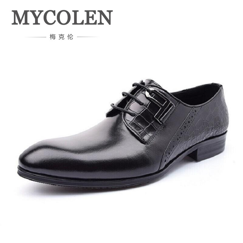 MYCOLEN Luxury Italian Genuine Cow Leather Business Leather Dress Shoes Lace-Up Office Suit Shoes Wedding Classic Men Shoes 247 classic leather