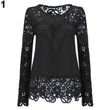 Женские Модные рубашка с длинными рукавами сексуальная прозрачная крючком блузка Топ