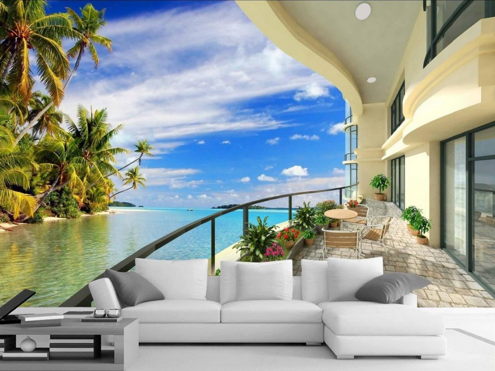 3d room wallpaper landscape balcony beach wallpaper 3d for Beach mural wallpaper
