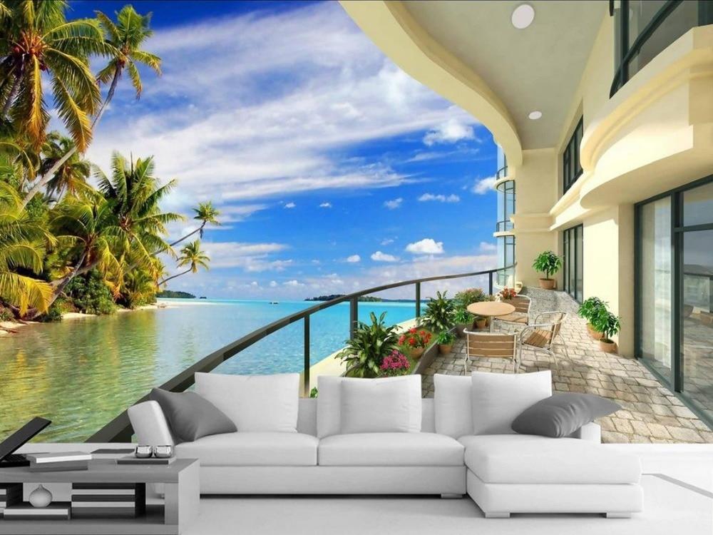 3d murals mural wall beach background balcony landscape bedroom decoration living walls decor hawaii custom scenery painting tv beibehang wallpapers