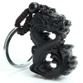 Chinese Traditional Wood Products Ebony Wood Good Luck Peace Winding Chinese Dragon Car Key Ring Pendant Keychain