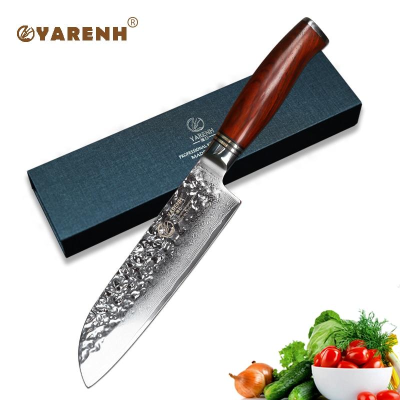 YARENH 7 inch Santoku chef knife Japanese VG10 Fillet Knive Damascus Steel vegetable knife best sharp