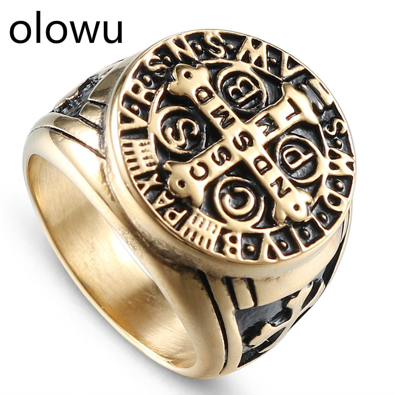 olowu Men Cross Ring Gold Tone Stainless Steel Punk Rock Christian Religion Cross Rings For Man Signet Retro Steel Jewelry Party image