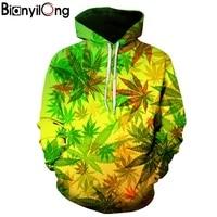 BIANYILONG New Fashion Men Women 3d Hoodies Print Nightfall Trees Designed 3d Sweatshirts Unisex Maple Leaf