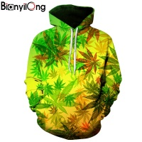 BIANYILONG New Fashion Men Women 3d Hoodies Print Nightfall Trees Designed 3d Sweatshirts Unisex Maple Leaf