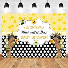 NeoBack Gender reveal Baby Shower Photo Background Black Skin African Children Cute Little bee Photography Backdrops