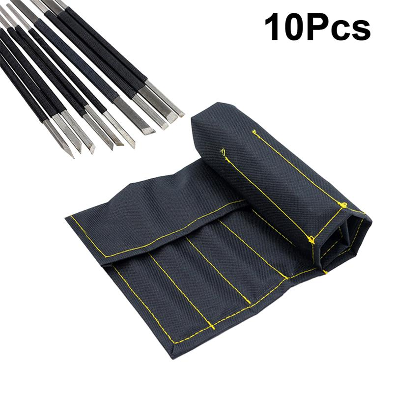 WINOMO 10pcs/Set High Carbon Steel Stone Carving Knife Black Line Set With Bag For Enthusiast Stone Carving Beginners