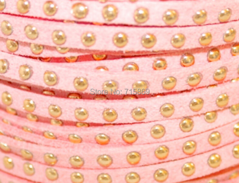 Free Ship 100 Meters Pink 5 x1.5mm w/ Gold Rivet Accents Microfiber Flat Faux Suede LeatherLace Cord For DIYJewelry