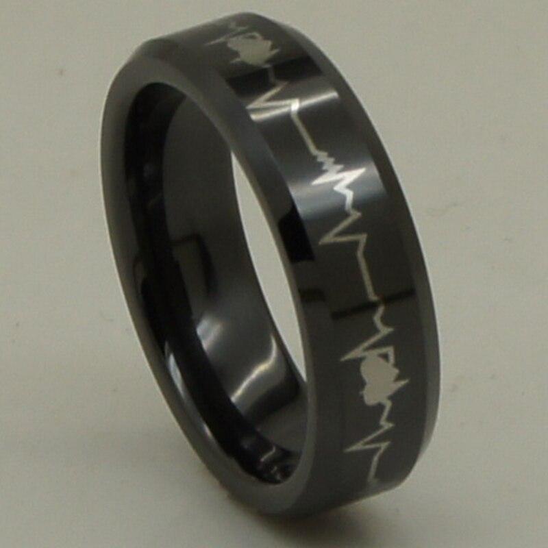 6mm width heart beating waver design black hi tech scratch proof ceramic ring 1pc