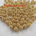 50pcs/lot Round Pave Golden Disco Ball Beads Rhinestone ball Crystal Spacer Beads for DIY Jewelry Findings