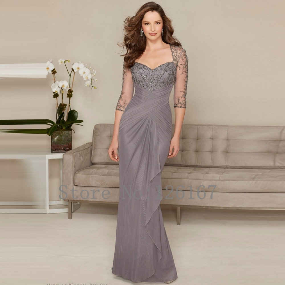 Mother Of The Bride Dresses: Grey Mother Of The Bride Dresses Half Sleeves Evening