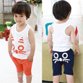 5set/lot 2016 summer sets boys girls Children Kids Clothing t-shirts+pants Girls Boy Summer Sports Suit Sleeveless Cat Design