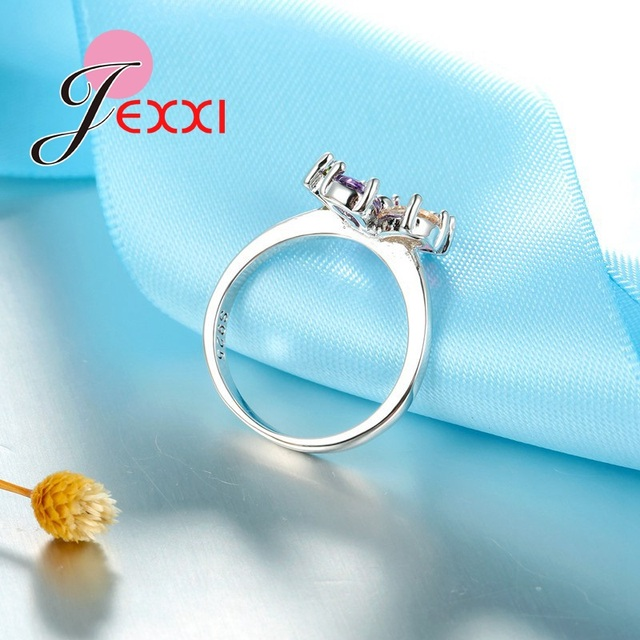 lexxi multicolor cristal necklece earring and ring  925 Sterling Silver Jewelry Sets 2