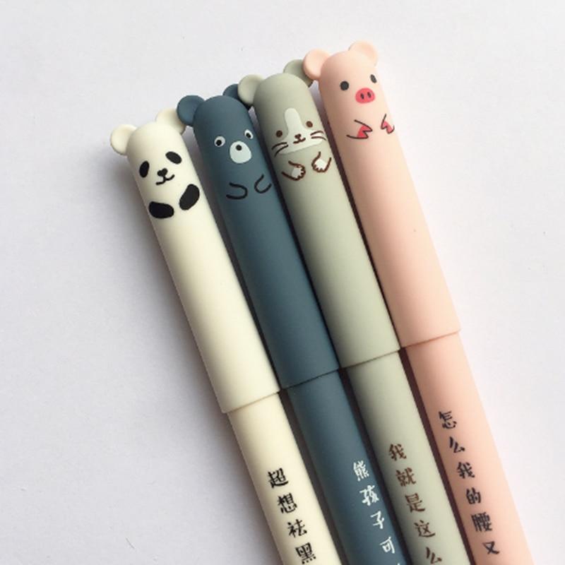 3pc Kawaii Pig Panda Mouse Bear Erasable Velvet Gel Pen Rollerball School Office Supply Student Stationery Pens 0.35mm Blue Ink Numerous In Variety