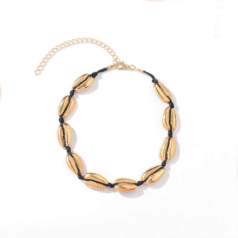 Boho Гавайская Морская ракушка ювелирные изделия богемное пляжное ожерелье с кисточками золотая цепочка для женщин цепочка на шею