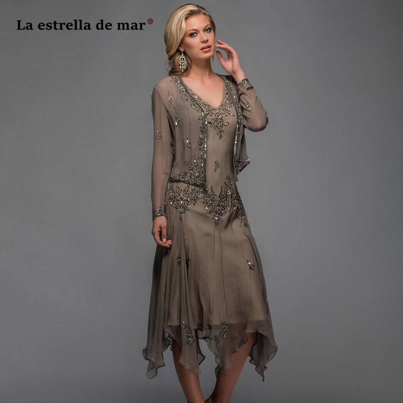 Vestido De Madrinha2019 New Embroidered Chiffon Crystal Long Sleeve Jacket 2 Pieces Brown Dark Green Mother Of The Bride Dresses