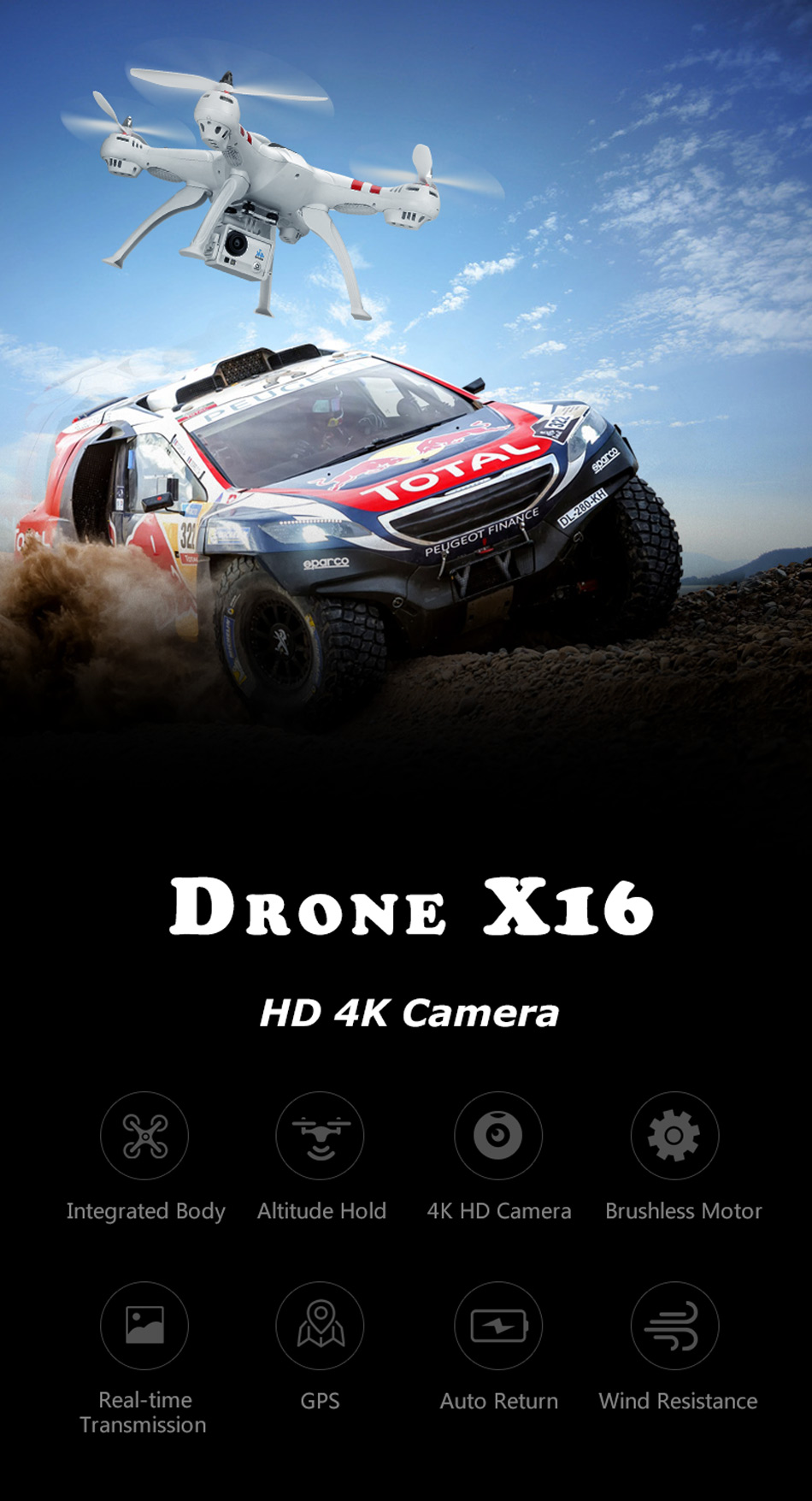 X16 rc drones with camera hd dron GPS height 500 meters fly distance Fpv quadcopter rc helicopter Brushless Motor 4K 1600W Toys 5