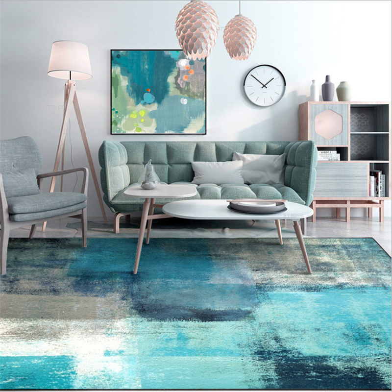 Bedroom Rug Modern Abstract Art Watercolor Blue Gray Carpet Rugs And Carpets For Home Living Room Soft Coffee Table Mat