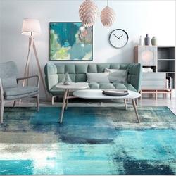 Nowoczesny dywan do sypialni nowoczesny abstrakcyjny obszar sztuki dywaniki niebieski szary dywan wykładziny i dywany dla domu salon miękka mata na stół do kawy|Dywany|Dom i ogród -