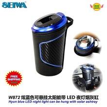 Acessórios Hyun azul pode ser pendurado carro cilindro cinzeiro cigarro solar W872