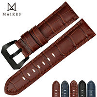 MAIKES Watchbands Watches Bracelet With Black Buckle Brown Watch Band Cow Leather Handmade Watch Strap Accessories