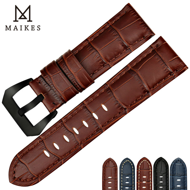MAIKES watchbands watches bracelet with black buckle brown watch band cow leather handmade watch strap accessories for Panerai maikes 18mm 20mm 22mm watch belt accessories watchbands black genuine leather band watch strap watches bracelet for longines